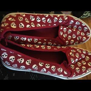 Red skull slip on sneakers , hot topic